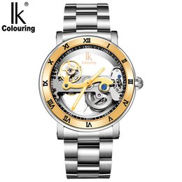 Luxury Ik Brand Watch Australia - IK colouring Men Automatic Mechanical Watches Top Brand Luxury Stainless Steel Watch Skeleton Transparent Sport male