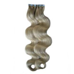 $enCountryForm.capitalKeyWord UK - #60 Platinum Blonde Virgin Brazilian Body Wave Tape Hair 100% Real Human Hair Extensions Adhesive PU Skin Weft Tape In Human Hair Extensions