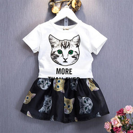 $enCountryForm.capitalKeyWord Australia - Kids Clothes for Girls 2019 New Cartoon Cat Toddler Children Clothing Set Short Sleeve Shirts Skirts 2pcs Summer Girls Suits