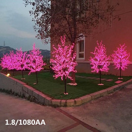 led light tree branches UK - Free Shipping 1.5m 480pcs Blossom ( Cherry ) LED Tree Light in Voltage With Base, Branch Tree Light with blossome flowers