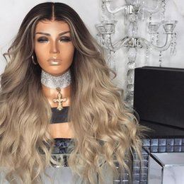 $enCountryForm.capitalKeyWord Australia - Women's wigs in Europe and the United States Middle Part wigs Long curly hair Grey-gold Ombre Color