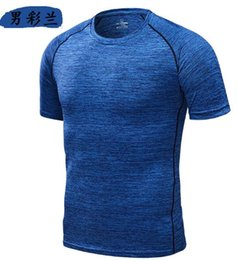 Wholesale Jogging Clothing Fitness Wear Blue Quick Dry T Shirt