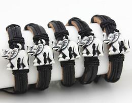 $enCountryForm.capitalKeyWord Australia - Wholesale 12pcs Imitation Yak Bone Carved Tribal Lovely Elephants Leather Bracelets Surfer Bangle Lucky Gift MB153