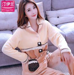Wholesale fleece leisure suit women resale online – Lady Winter Warm Pyjamas Women Sleepwear Female Pajama Suit Fleece Pajama Sets Home Suits Homewear Women Leisure Wear D