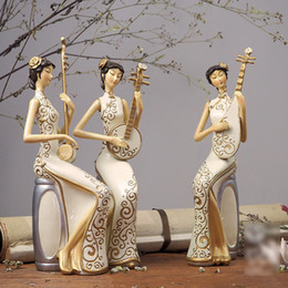 old resin Australia - Chinoiserie Musical Instrument Beautiful Women Ornaments CeramiFinish Decoration Advanced Synthetic Resin Figure Toys Set New Year Gifts