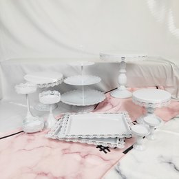 Cupcakes Desserts NZ - 11 Pcs Thin Disk Wedding Cupcake Tray Dessert Metal Crystal 3 Tier Plate Wholesale White Pink Vintage Set Cake Stand