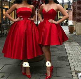 $enCountryForm.capitalKeyWord Australia - Red A line Satin Bridesmaid Dresses Cheap Strapless Sweetheart Ruched Tea Length Short Wedding Guest Evening Prom Formal party Dress