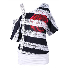 Womens T Shirts Wholesale UK - Fashion Womens Casual Short Sleeve Women T-Shirt Striped Large Size Shirt Skew Neck Strapless Floral Print T-Shirt Tops Mujer