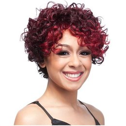 Wholesale Hot selling fashion women short hair wig inch curly ombre color wigs for Afro synthetic hair with weaving cap