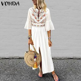 $enCountryForm.capitalKeyWord Australia - Vonda Women Bohemian Printed Dress 2019 Sexy V Neck Ruffle Sleeve Split Maxi Dress Casual Sundress Vacation White Vestidos S-5xl Y19051001