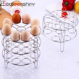 Water Steamers Australia - wholesale Stainless Steel Egg Steamer Rack Kitchen Two Three Layers Egg Dishes Storage Rack Water Draining 7 Holes
