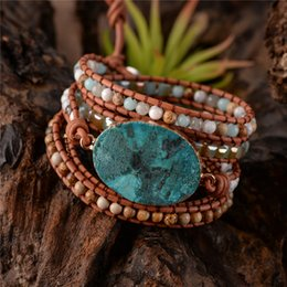 boho chic jewelry Canada - Natural Stone Leather Bracelet Exquisite Mix Stones Women Fashion 5 Layers Wrap Bracelet Boho Chic Bracelet Jewelry Dropshipping