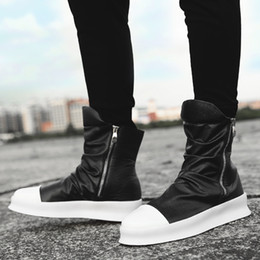 high top hip hop dance shoes UK - brand Hip-hop martin boots dancing coolboy white black Shoes Fashion military Boots High Top justin kanye West Boots