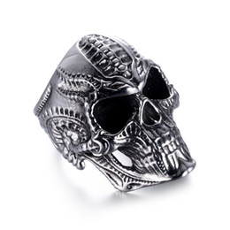 $enCountryForm.capitalKeyWord Australia - Retro Gothic Punk Style 316L Stainless Steel Alien Skull Ring Bicycle Man Locomotive Jewelry for Fashion Men Size 7-14