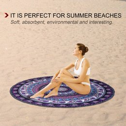 Beach Mats Wholesale Australia - 2017 European American Round Shape Beach Towel Elephant Digital Printed Polyester Blanket Table Yoga Mat drop shipping