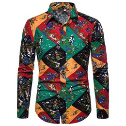 $enCountryForm.capitalKeyWord UK - Colorful Patchwork Shirt Male Holiday Travel Costume High Quality Linen Clothes Long Sleeve Floral Tops Man Party Casual Shirts