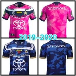 6dfd94fed86 Top quality 2019 2020 Super Rugby League North Queensland Cowboys  commemorative Rugby Jersey mans pink and cyan rugby Jerseys
