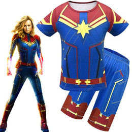 Superhero Shirts Wholesale Australia - 2019 Avengers Alliance 4 Captain Marvel Boys Shazam Costume Kids Superman Cosplay Superhero Party Cosplay t-shirt+short pant summer set