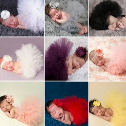 Red White Blue Tutus UK - 12 Colors Newborn Photography Props Infant Costume Outfit Princess Baby Tutu Skirt Headband Baby Photography Props