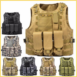 Discount army combat vest Airsoft Tactical Vest Molle Combat Assault protective clothing Plate Carrier Tactical Vest 7 Colors CS Outdoor Clothing