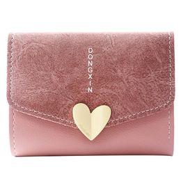 $enCountryForm.capitalKeyWord NZ - New Designer Heart Cute Pink Small Wallet For Women Lady Mini Clutch Coin Purse Card Holder Pocket Girl Short Zipper Wallets