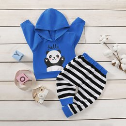 hoodies t shirt outfits Canada - Babyage 2PCS Newborn Toddler Infant Kid Gift Baby Boy Clothes Panda Print Hoodie T-shirt Top+Striped Pants Outfit Set