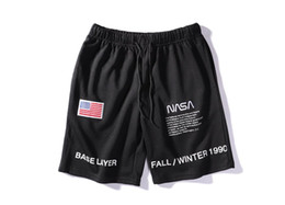 Wholesale flag clothes men online – design 19SS Heron Preston X NASA Shorts Mens Teenager Clothing USA Flag Embroidery Designer Shorts Casual Sports Wear