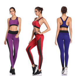$enCountryForm.capitalKeyWord Canada - Women Yoga Sets Pants Mesh Patchwork Leggings Sports Vest Running Suits Comfortable Quick Dry Yoga Set Female Gym Wear