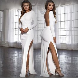 Wholesale white kimono sleeve maxi dress for sale – plus size Woman Clothes Party Dresses Women Backless Sexy Long Party Dress Vestidos Spring Long Sleeve High Side Split Bodycon Maxi Dress White