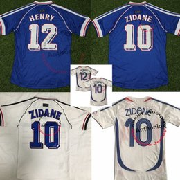 france jersey soccer football 2019 - TOP quality France 1998 retro Francais soccer jersey zidane 10 henry 12 uniforms maillot de foot maillots de 2006 zidane