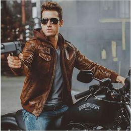 $enCountryForm.capitalKeyWord Australia - New Retro Men Warm Genuine Leather Plus Size Two-door collar Jackets Men's Real Leather Jacket Men Motorcycle Removable Hood Winter Coat