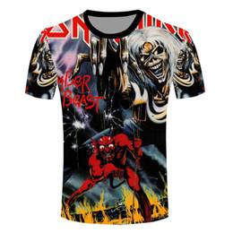 Shirt Killers NZ - Anime T Shirt Men 3D Printed T-shirts Harajuku Style Iron Maiden Killers Character Tees Homme Short Sleeve New Fashion Camisetas