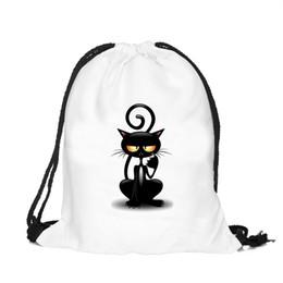 142ca5c2a 39x30cm Harajuku Cute Cloth Drawstring Bags Canvas White Color Black Cat  Kawaii Storage Bags Backpack 3d Printed Womens Gift Bag