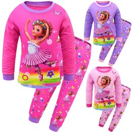 Fantezi Nancy Kız Prenses Pijama Kız Bebek Uzun Kollu Tişört + pantolon elbise takımları Kız Çocuklar Noel raglan Kıyafet PJS indirimde