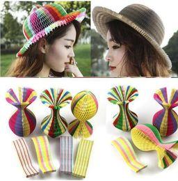 $enCountryForm.capitalKeyWord Australia - Magic Paper Vase Cap Variable Folding Paper Hat Creative Magic Vase Hats Travel Round Foldable Sunhat Party Hats