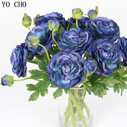 $enCountryForm.capitalKeyWord Australia - Big Peony Artifcial Silk Flower Wedding Bouquet Decor White Peony Home Display Fake Flower Pack Heart Peony Blue Rose