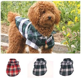 Wholesale doggy t shirts for sale – custom Handsome Pets Doggy T Shirt Fashion Lattices Printed Small Cats Puppy Short Sleeves Pet Apparel Newest Styles yb E1