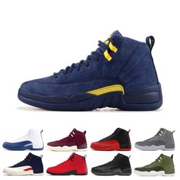 ad3c07a7b698be Cheap 12 Bordeaux Dark Grey wool man basketball shoes white Flu Game UNC  Gym red taxi gamma french blue Suede sneaker US8-13
