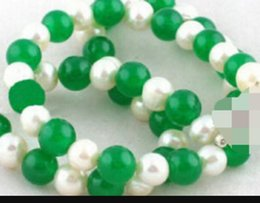 $enCountryForm.capitalKeyWord Australia - necklace 1.23 8 mm Green Jade Real White Pearl 18KWGP Clasp Necklace Discount 35%