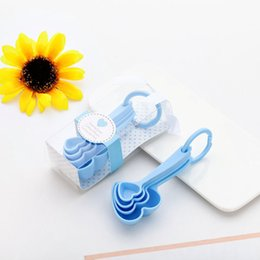 Wholesale 4pcs set Creative heart shaped plastic measuring spoon Wedding Party Baby shower favors bridesmaid gift CT0042