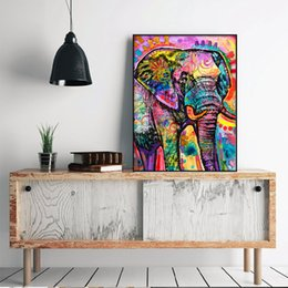 Discount elephant picture home decor Modern Abstract Animal Colorful Elephant Home Decor Handpainted &HD Print Oil Painting On Canvas Wall Art Canvas Picture
