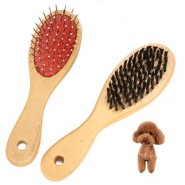 hair comb brush wooden NZ - Double-sided Pet Comb Big Dog Brush Comb for Cats Dogs Hair Wooden Hair Removal Soft Brush Pet Comb Grooming Care Tool