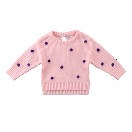 baby crochet customs Australia - Winter Baby Sweater Polka Dots Patched Newborn Kids Girls Baby Knitted Sweater Winter Pullovers Crochet Tops Clothes