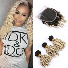 dark roots blonde closure Canada - Dark Roots Brazilian Blonde Funmi Human Hair Bundles with Lace Closure 2 Tone 1B 613 Ombre Bouncy Spiral Curly Hair Weave with Closure