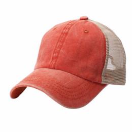 d025e2c47b4 Wholesale Washed Baseball Caps UK - Retro Style Washed Cotton Mesh  Strapback Hat Baseball Tennis Cap
