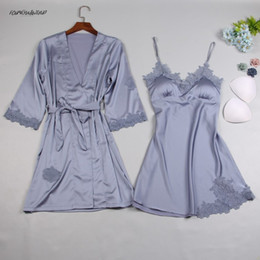 sexy sleeping dress satin Australia - Brand Silk Satin Women Robe Gown Sets 2019 Summer 2 Pcs New Sleep Dress Robe Sleepwear Sexy Night Gown Nightdress Home Flare Sleeve Wear