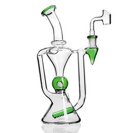 $enCountryForm.capitalKeyWord Australia - 9.6 inchs Big Glass Bong Dab Rigs Water Pipe Thick Glass Oil Rigs Recycler Bong Beaker Double Function with Banger 14mm