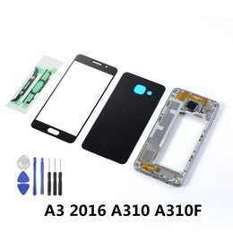 Sensor Housing Australia - For Samsung A3 2016 A310 A310F LCD Front Touch Screen Sensor+Housing Metal Middle Frame+Back Glass Battery