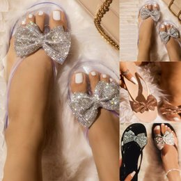 Butterfly jelly shoes online shopping - Women bow butterfly knot sandals Clear herringbone slipper Flip Flops Flash Drilling Sandals Beach Flats Rain Jelly Shoes
