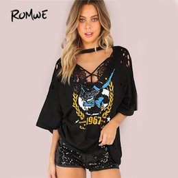 tops trading Australia - Romwe Oversized Grungy Trade Mark T-shirt Black Tee Women Graphic Casual Punk Tops 2019 Casual Loose Sexy Cut Out Cotton T-shirt Y19060601